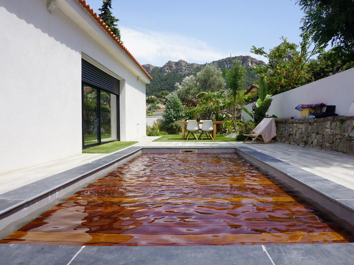 suelo de la piscina móvil